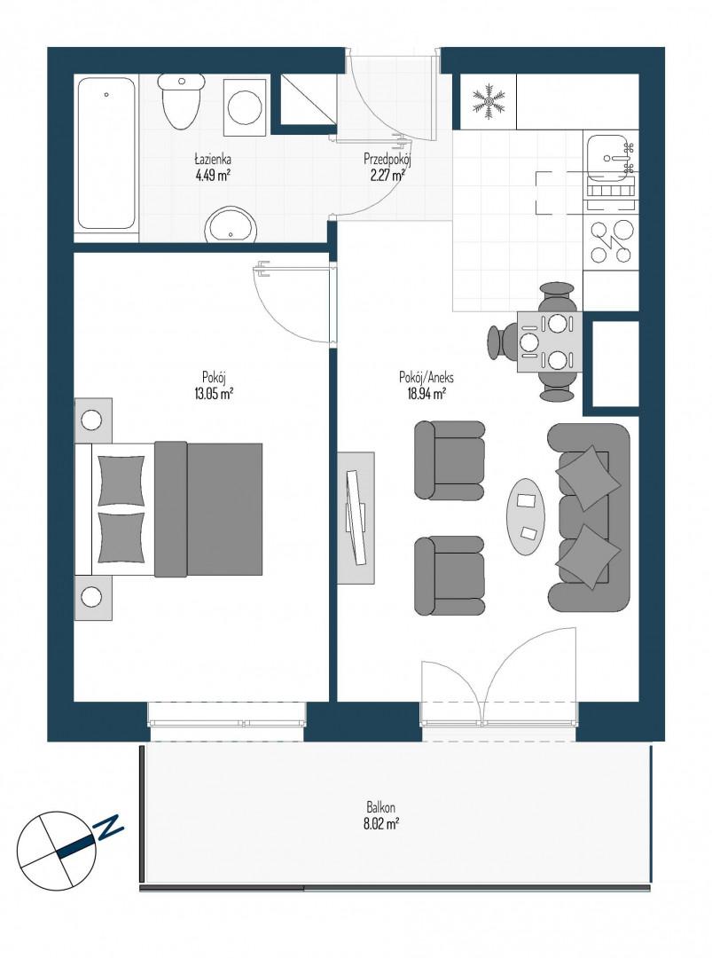 Zdrowe Stylove / budynek 2 / mieszkanie nr 62 rzut 1