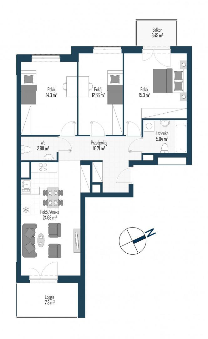 Zdrowe Stylove / budynek 2 / mieszkanie nr 63 rzut 1