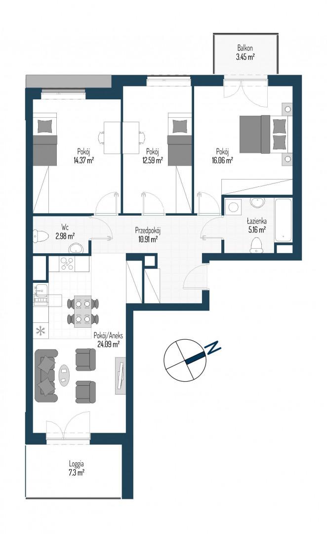 Zdrowe Stylove / budynek 2 / mieszkanie nr 99 rzut 1