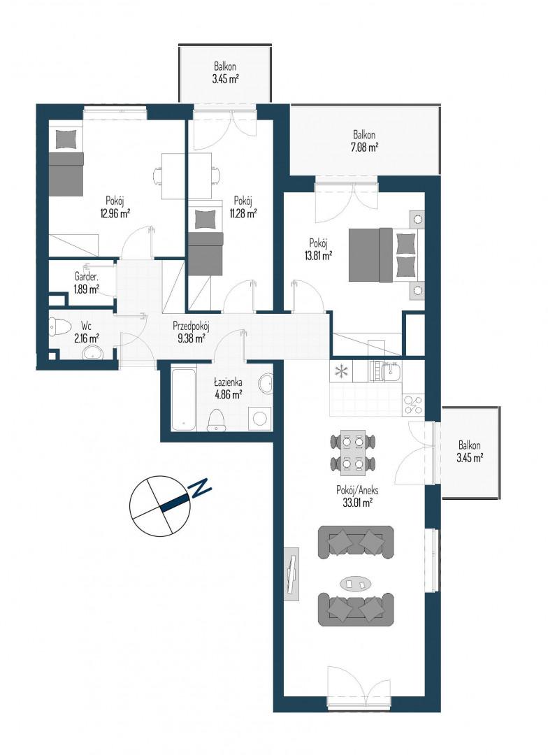 Zdrowe Stylove / budynek 2 / mieszkanie nr 123 rzut 1