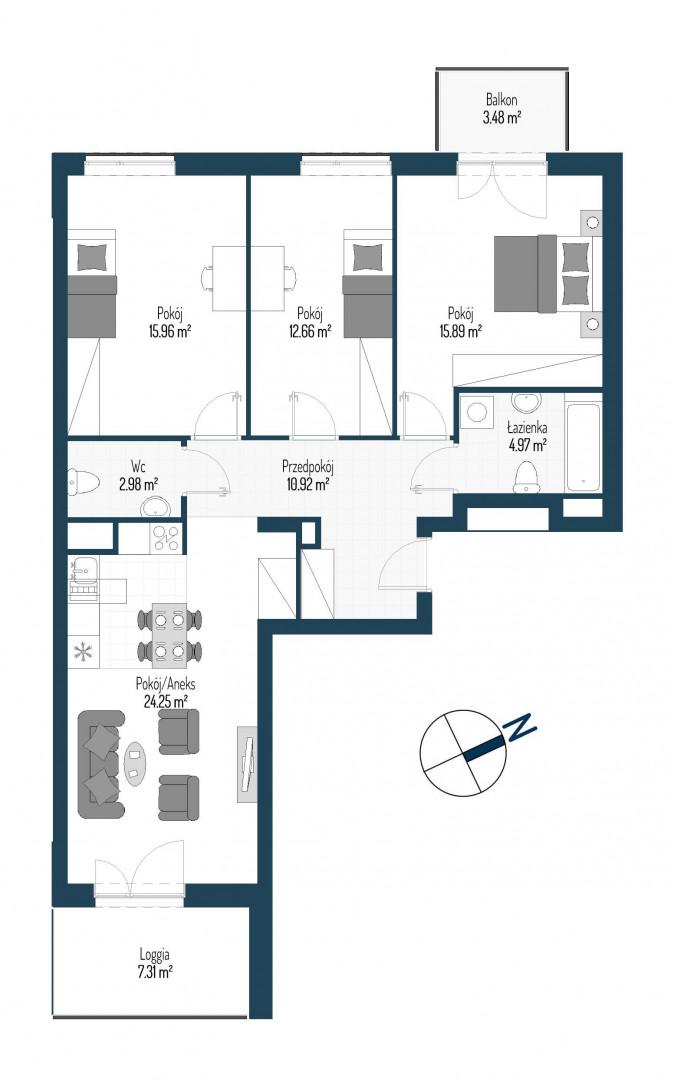 Zdrowe Stylove / budynek 2 / mieszkanie nr 126 rzut 1