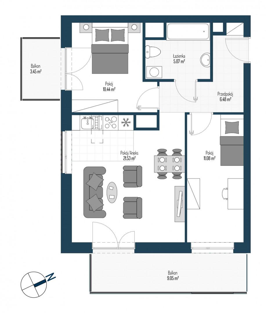 Zdrowe Stylove / budynek 2 / mieszkanie nr 26 rzut 1