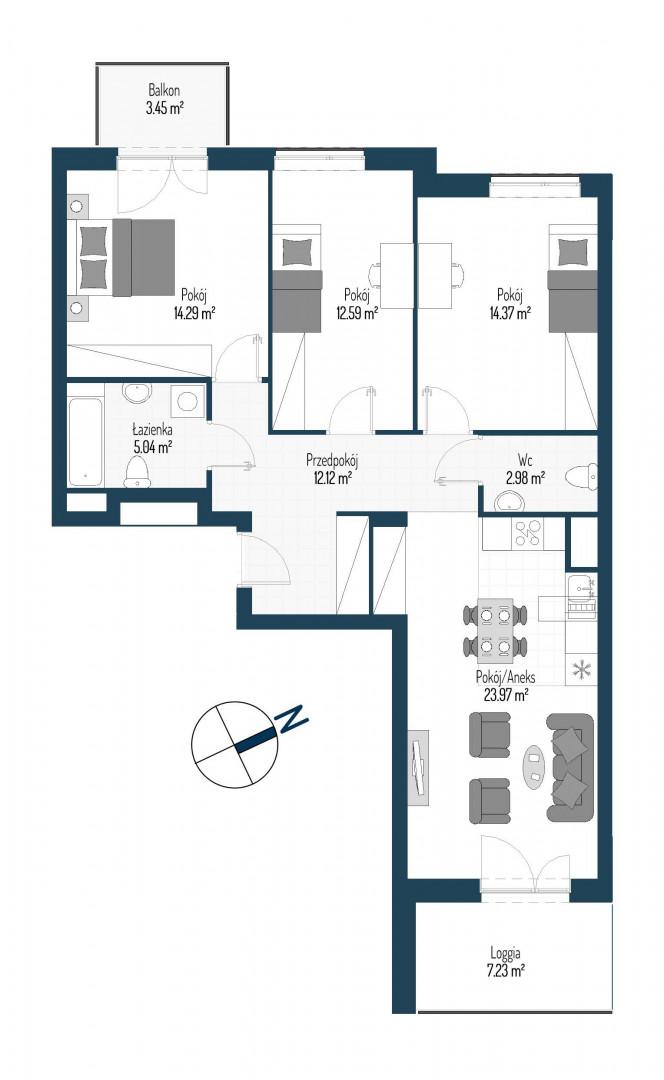Zdrowe Stylove / budynek 2 / mieszkanie nr 65 rzut 1