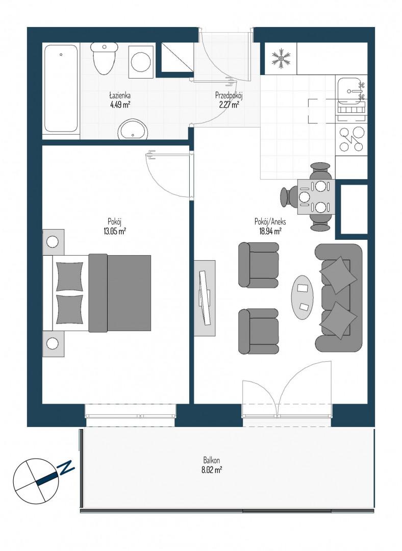Zdrowe Stylove / budynek 2 / mieszkanie nr 69 rzut 1