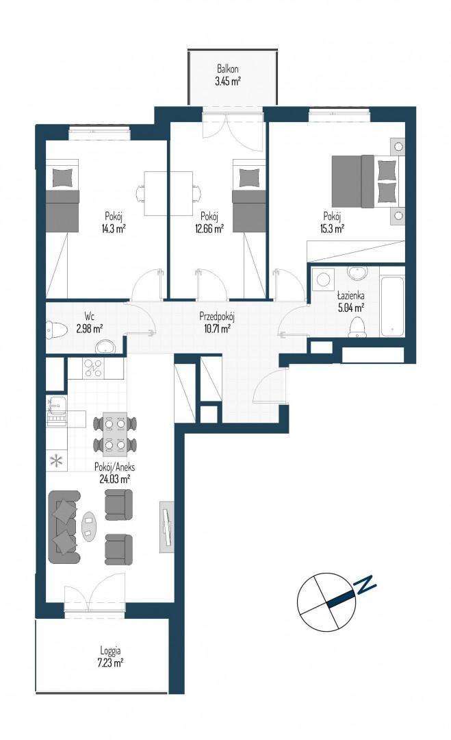 Zdrowe Stylove / budynek 2 / mieszkanie nr 70 rzut 1
