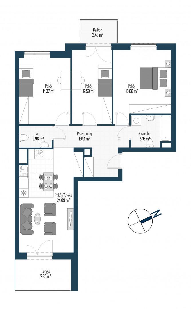 Zdrowe Stylove / budynek 2 / mieszkanie nr 104 rzut 1