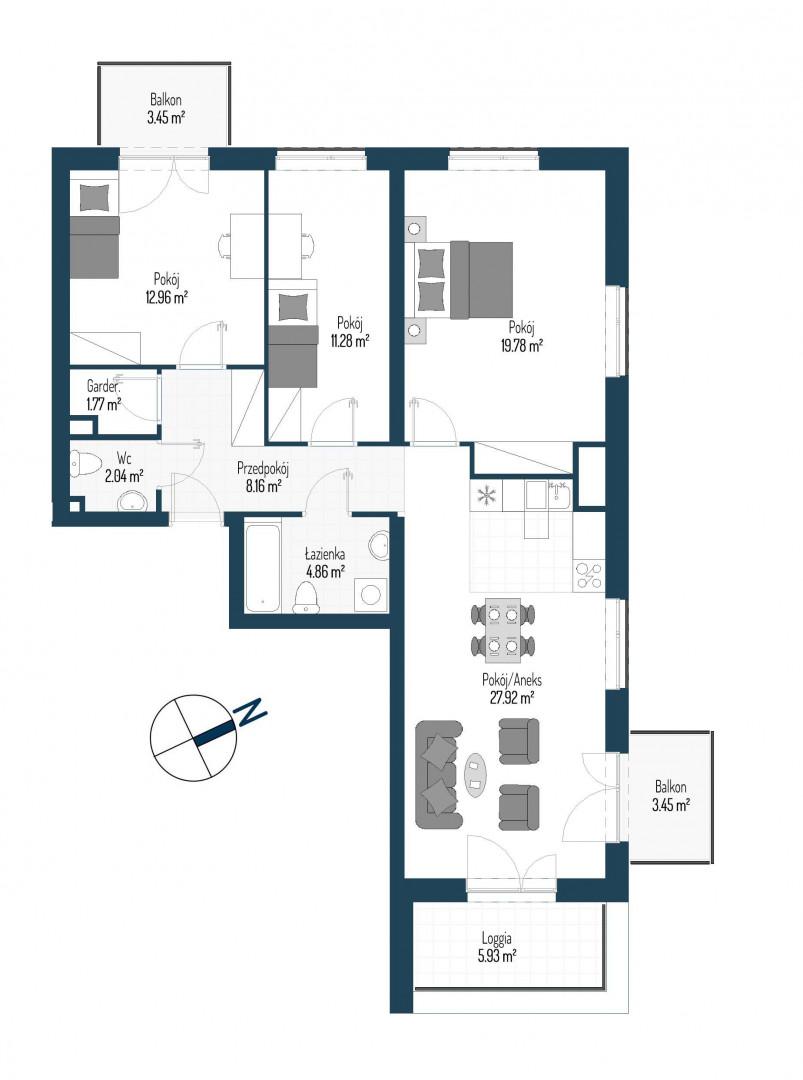 Zdrowe Stylove / budynek 2 / mieszkanie nr 127 rzut 1