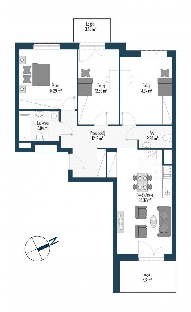Zdrowe Stylove / budynek 2 / mieszkanie nr 72 rzut 1