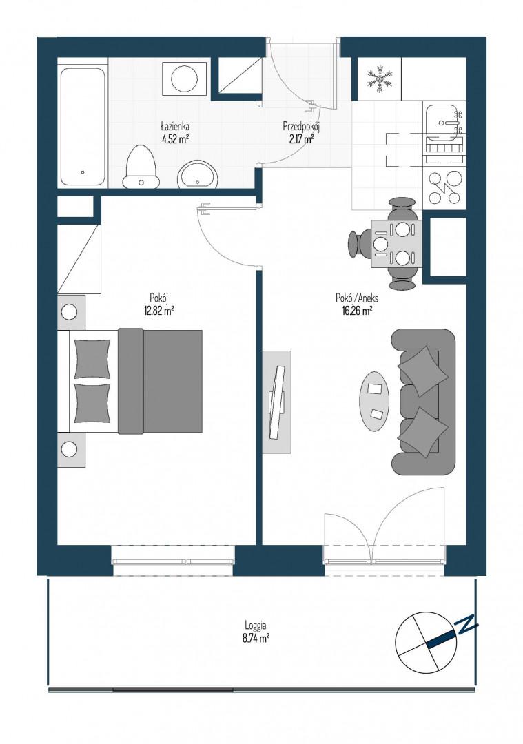 Zdrowe Stylove / budynek 2 / mieszkanie nr 74 rzut 1
