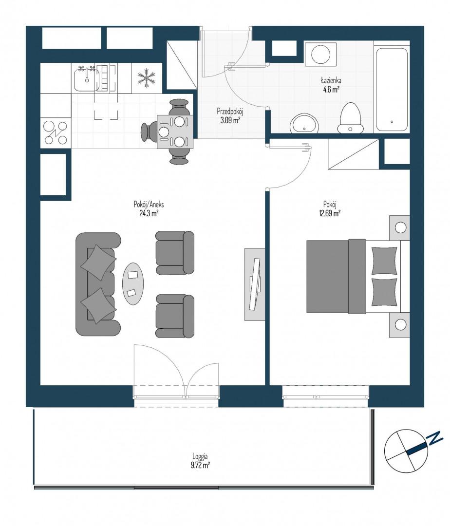 Zdrowe Stylove / budynek 2 / mieszkanie nr 132 rzut 1